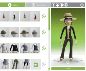 Showing the xbox.com Avatar Editor in action