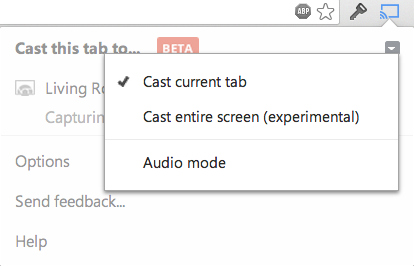 Chrome Cast desktop sharing option