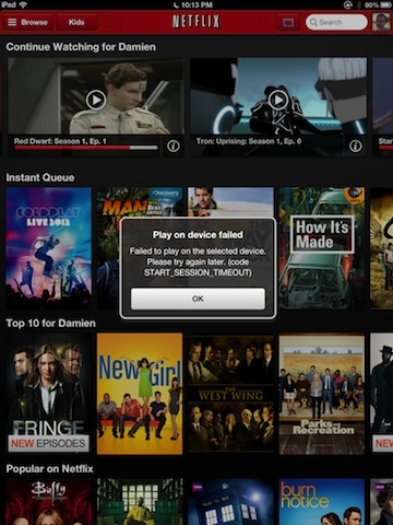Netflix + iPad showing connect error