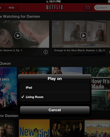 Netflix + iPad asking what to play on