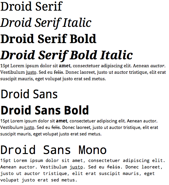 Screen shot of the Droid fonts in Mac OS X 10.5 via TextEdit.