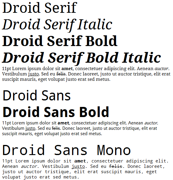 Screen shot of the Droid fonts in Windows XP via WordPad.