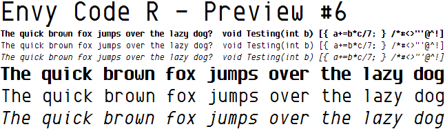 Envy Code R font in size 10 and size 20 showing bold, regular and italic variants.