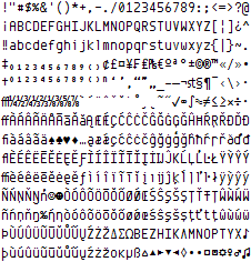 Preview of the 461 glyphs in Envy Code R at point size 10 on Windows with ClearType.