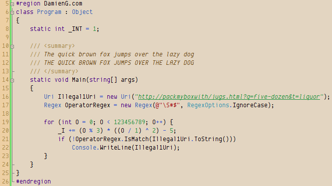 Envy Code R font at 10 point in Visual Studio 2008 with my Humane theme.