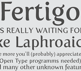 Sample of Fertigo font.