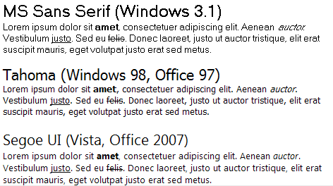 Interface font evolution in Windows