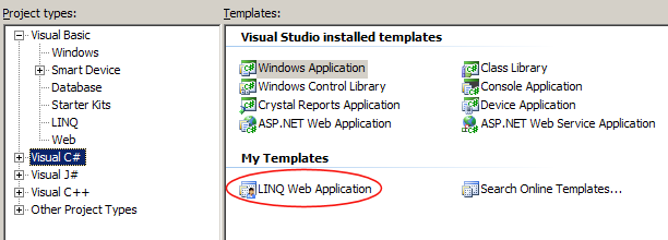 Window of the LINQ To SQL templates available