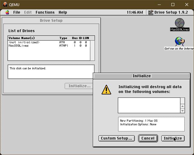 Screenshot of Mac OS 9 initializing a drive inside QEMU on Windows