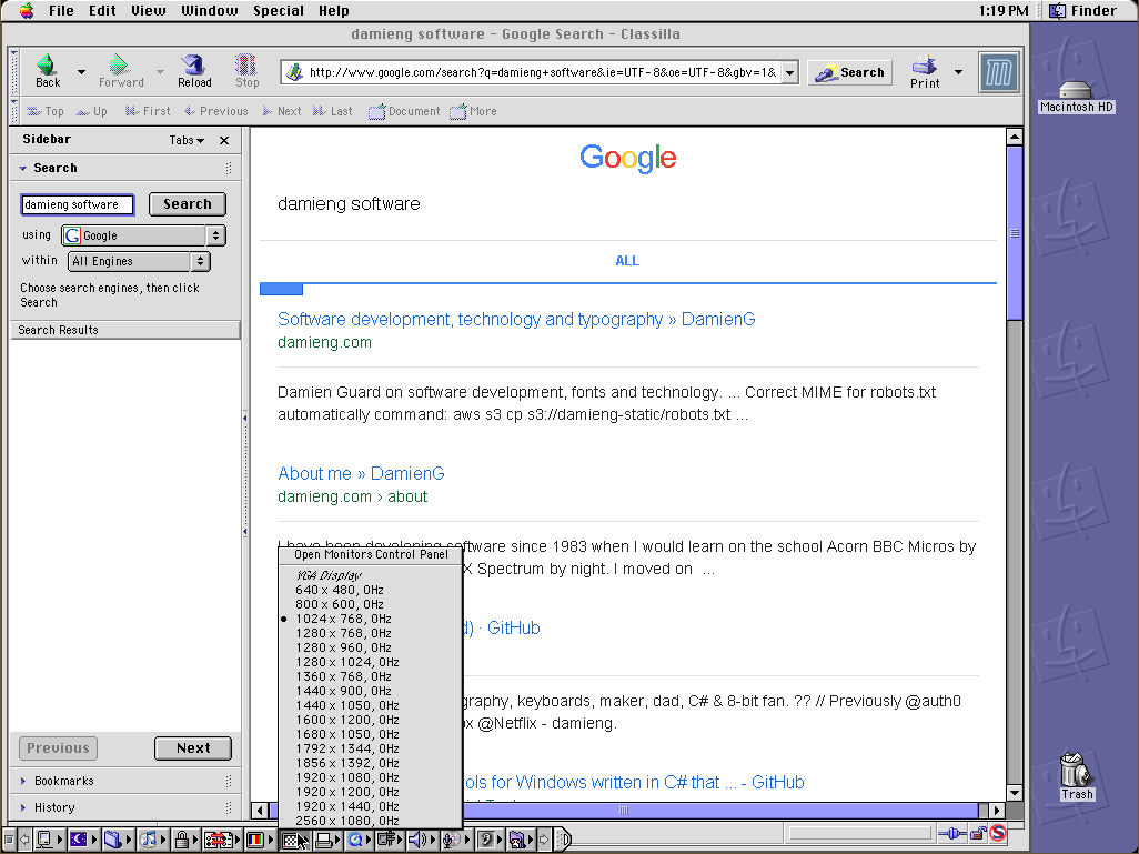 Screenshot of Classica browser searching for me and also showing quick-resolution switching on Mac OS 9 inside QEMU on Windows