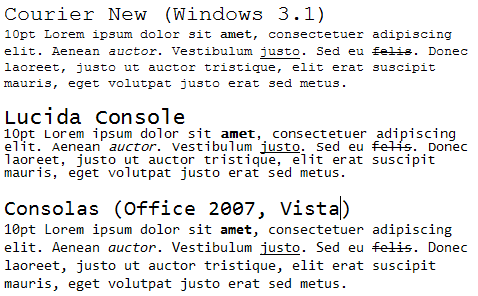 Monospace font evolution in Windows
