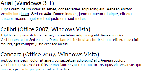 Sans-serif font evolution in Windows