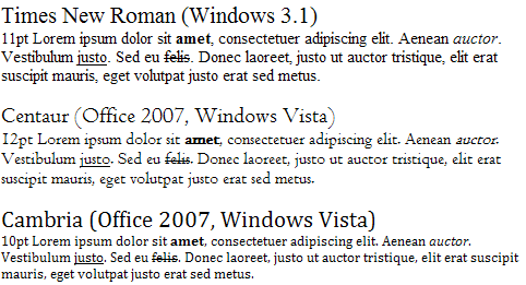 Serif font evolution in Windows
