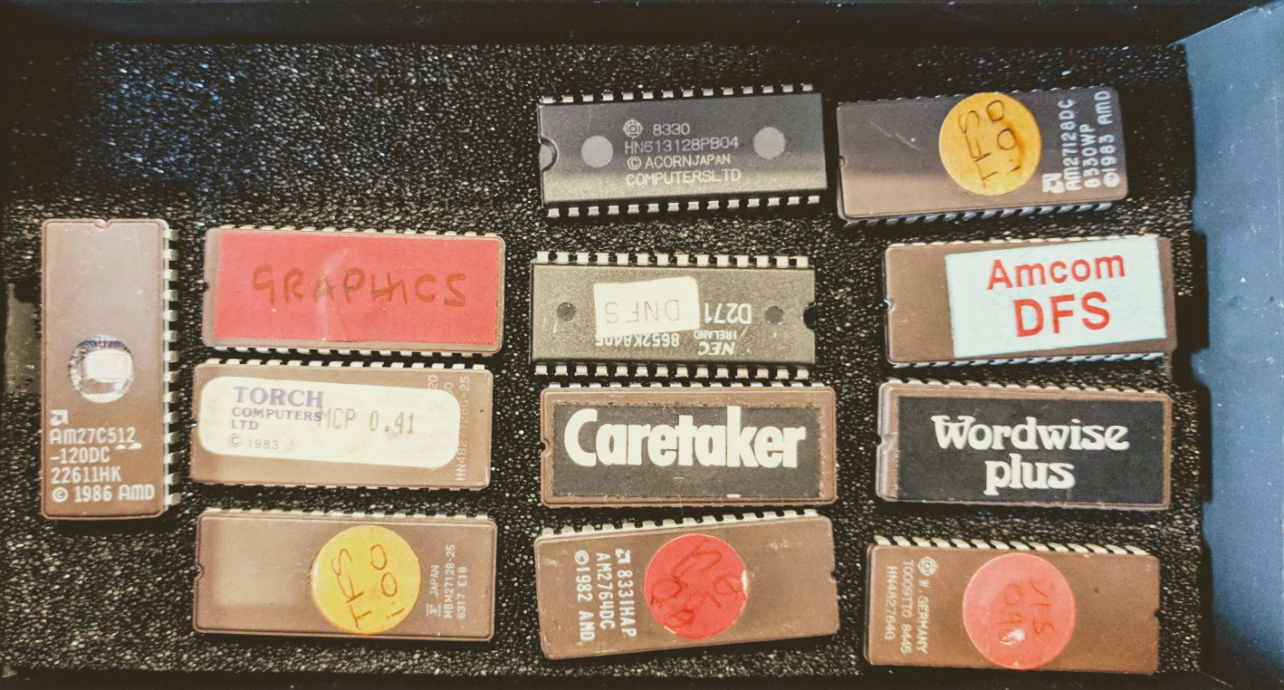 A collection of ROMs and an EPROM