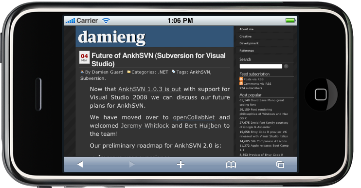 DamienG.com rendered on the iPhone