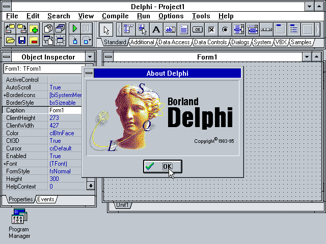 Screenshot of Delphi 1 IDE in action