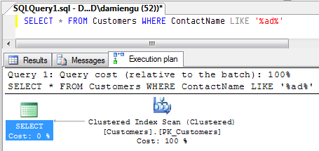 A query plan in SQL Management Studio