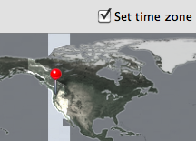 Screenshot of location aware time-zone in Snow Leopard