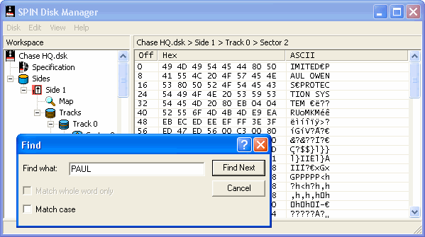 Screenshot showing the find sector data and hex/ASCII viewer.