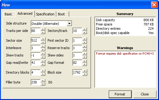 Screenshot showing advanced formatting options.
